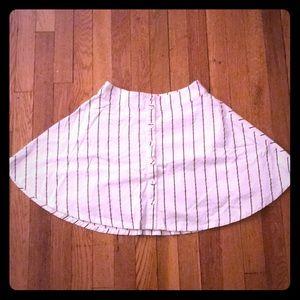 Black and White Striped Linen Skater Skirt